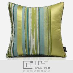 匠心宅品 现代休闲样板房沙发靠包抱枕绿色肌理提花拼方枕{不含芯