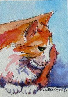 Ginger Tea  - marmalade cat ACEO painting
