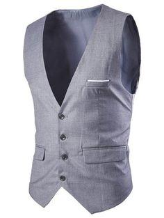 #Dresslily - #Dresslily Slimming Single Breasted Men's Solid Color Waistcoat - AdoreWe.com