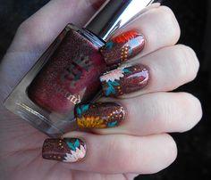 October kanzashi nail art - Kiku