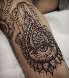Black and Gray Hand of Fatima Tattoo