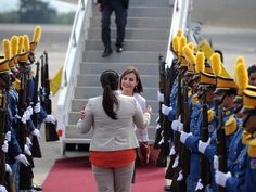 Queen Letizia of Spain arrives at Soto Cano Air Base on May 25, 2015 in Comayagua, Honduras.