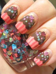 cupcake nails... with a heart on top and sprinkles too..so cute !