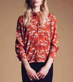 Orange Horse Print Button-Up Shirt