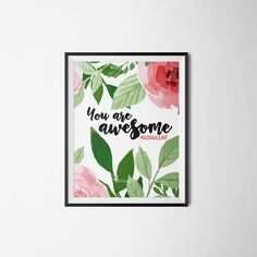 Print reads: You are Awesome, MashaAllah! Islamic Wall Art, You Are Awesome, Pearl, Colours, Frame, Prints, Etsy, Picture Frame, You Are Amazing