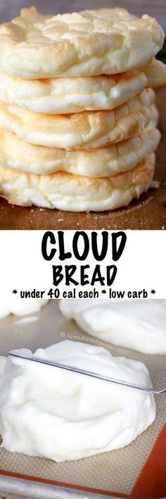 Low Carb Meals Cloud Bread is an easy to make, light and fluffy bread substitute. These are low carb, under 40 calories each and the perfect way to lighten up a sandwich! Perfect for Weight Watchers and 21 Day Fix approved! Ww Recipes, Diabetic Recipes, Gluten Free Recipes, Low Carb Recipes, Cooking Recipes, Healthy Recipes, Bread Recipes, Soup Recipes, Healthy Low Calorie Snacks