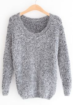 Grey Round Neck Long Sleeve Pullovers Sweater