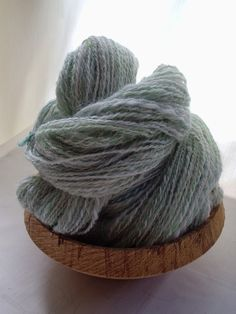 Handspun Yarn - Frosted Sage -  Blue Faced Leicester and Alpaca  Hand-painted 2 Ply via Etsy