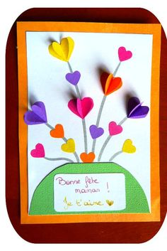 cartes - My parad(is)e - Basteln Kinder Diy And Crafts, Crafts For Kids, Paper Crafts, Sunday School Crafts, Fathers Day Cards, Mothers Day Crafts, Preschool Art, Valentine Day Crafts, Spring Crafts