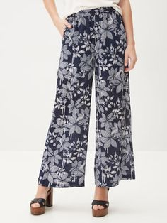 FLOWER PRINTES TROUSERS, Total Eclipse