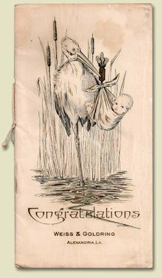 A birth announcement from 1922. -- I love these vintage images! What if this was one side? Welcome with her name, maybe stats, and photos on the other side? (Might be hard to choose which side to display if they both have photos?)