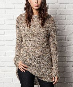 Another great find on #zulily! Natural Hi-Low Sweater by Elegant Apparel #zulilyfinds