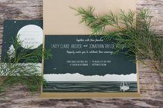 Claire + John's Woodsy Lodge Wedding Invitations