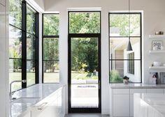 New Black Door Interior Steel Windows Ideas Black Windows Exterior, Aluminium Windows And Doors, Metal Windows, Interior Windows, Casement Windows, Big Windows, Contemporary Windows And Doors, Patio Windows, Steel Doors And Windows