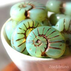 Glass snail beads