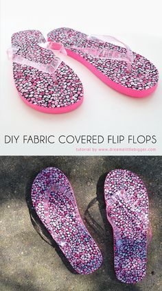 LOVE these DIY Fabric Covered Flip Flops!  l  Dream a Little Bigger