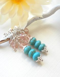 Turquoise Howlite Gemstone Earrings Turquoise and by APerfectGem $18.00 #sterlingearrings #turquoise #turquoiseearrings #sterlingposts