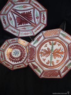 Platos ochavados de Sanguino Talavera en cerámica de reflejos ideal decoración étnic