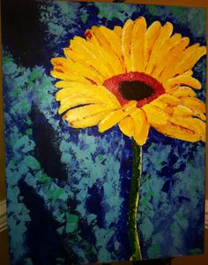 My Passion! I love painting flowers and this is all spatula with acrylic.