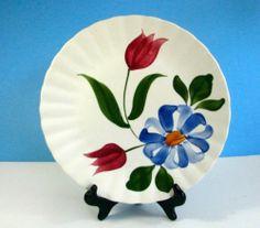 "Vintage Blue Ridge Potteries Blue Red Floral 10 1 4"" Plate | eBay"