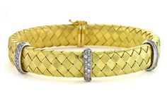 New In :: 18kt Yellow Gold Braided Mesh Bracelet -