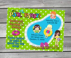 A personal favorite from my Etsy shop https://www.etsy.com/listing/467261121/personalized-pool-party-swimming