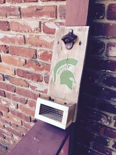 michigan state spartans inspired, personalized bar sign, beer bottle opener, custom wood bottle opener, wall mounted, cap catcher by OniontownRepurposed on Etsy