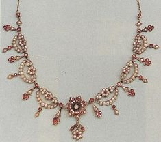 Victorian Pearl & Ruby Necklace