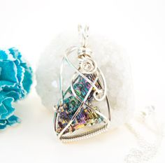 Bismuth Crystal Necklace  Rainbow Bismuth by FeathersnThingz