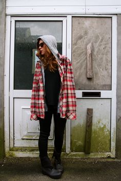 #checked, #plaid, #cardigan #zara #moto boots #coated