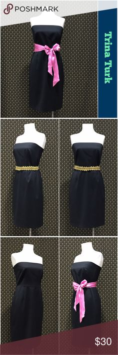 """Trina Turk Strapless Dress Labeled a 10, but ridiculously undersized.  Fits my size 4 mannequin. Measures 16.5"""" armpit to armpit & 14.5"""" across the waist. cotton/poly/elastane blend. Satiny shell, fully lined, back zip.  No belt loops, but looks great styled with a sash/belt.  Excellent condition. Listing as a Small.    ☘️Prices are firm and quite reasonable 🍀Smoke Free Home 🍀Bundles Welcome but please keep them under 10 items (5lbs) 🍀Kitty friendly household 🚫No Trades 🚫No Offers 🚫No…"""