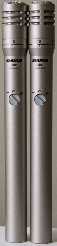 A great pair of Shure SM81s. Great for drum overheads or stereo mics for guitar or piano.