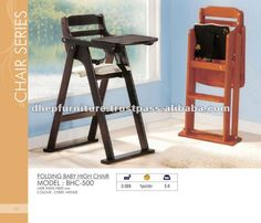 Folding Baby High Chair, Wooden baby feeding chair