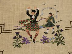 Scottish cross stitch. This would be adorable on a sweater or something.