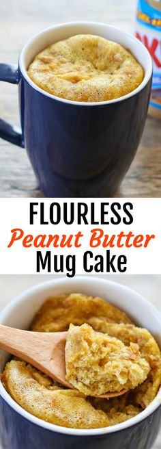 Flourless Peanut Butter Mug Cake! This single serving cake is gluten free, just four ingredients, and cooks in about 1 minute in the microwave.