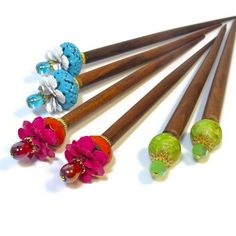 Hair Sticks, Flower Hair Accessories, Hair Chopsicks, Turquoise