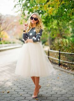 18 Sweater and Skirt Street Style Combinations   totally my style. I can't wait until sweater season!