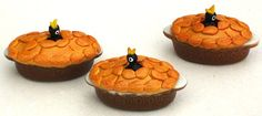 One of my favorite miniaturists....there's nothing more adorable (and nom nom!) than teeny food...unless it's teeny food with a bird on it!  Blackbird pies  a traditional favorite by Abasketof on Etsy, £8.50