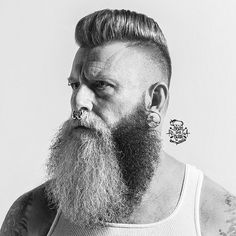The Two-Tone Look is AWESOME!   imonkeyaround:  A nice crescent shaped fade from #themondays2 photo shoot. What an incredible beard. Hair styled with @officiallayrite Groomins spray and a bit of @uppercutdelux featherweight. Beard groomed with @brooklyngrooming balm. @bisonandblade