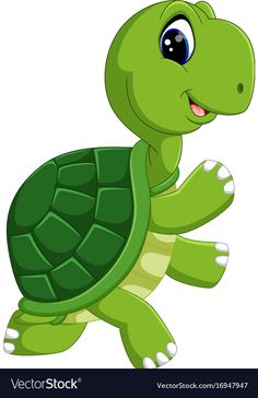 Cute turtle cartoon vector image on Baby Animal Drawings, Art Drawings For Kids, Drawing For Kids, Cartoon Drawings, Cute Drawings, Art For Kids, Cartoon Sea Animals, Baby Animals, Cute Animals