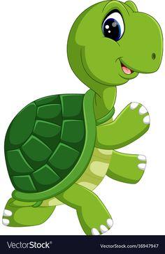 Cute turtle cartoon vector image on Baby Animal Drawings, Art Drawings For Kids, Disney Drawings, Drawing For Kids, Cartoon Drawings, Cute Drawings, Art For Kids, Cute Cartoon Pictures, Cute Pictures