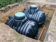 Two plastic underground storage tanks placed below ground for harvesting a rainwater. Sewage Treatment, Water Treatment, Liquid Waste, Hydroponic Farming, Water Quality, Water Conservation, Water Supply, Plant Design, Garden Hose