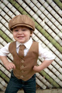 Easter outfit, Boys vest, Ring bearer, Wool, Newsboy set, Hat and Vest Set, Hat Vest Tie, Brown Ring Bearer, Boys Photo Prop, Toddler boy on Etsy, $85.00
