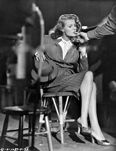 Rita Hayworth on the set of GILDA (1946)