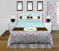 Damask Coral Comforter, Unique bedding, Gorgeous Mint Kids Polka Dot Bedding, Girls Bedding, Personalized, KING, Queen / Full, Twin #118 by EloquentInnovations on Etsy https://www.etsy.com/listing/209178758/damask-coral-comforter-unique-bedding