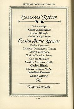 Caslon type specimen.