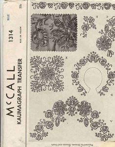 bead embroidery template   McCall 1314 Vintage 1940s Kaumagraph Transfer for Bead Embroidery