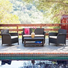 Outdoor inspiration for poolside seating with easy photoshop background