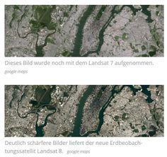 Google Earth ist schärfer geworden. Google hat das Bildmaterial des beliebten Kartendienstes aufgefrischt. Die schärferen und aktuelleren Bilder wurden mit dem NASA-Satelliten Landsat 8 geschossen, berichtet das US-Unternehmen auf seinem Latlong-Blog. Google Earth, Nasa, City Photo, Blog, Business, Photo Illustration