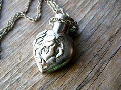 Art Nouveau Heart Necklace  Vase Necklace  Gift by 2VintageGypsies